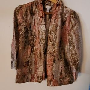 Chicos Brown Long Sleeve Coverup - 0